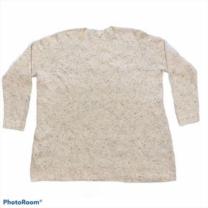 Ivory chunky knit speckled crew neck sweater